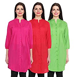 NumBrave Magetna, Red & Green Long Cotton Top (Pack of 3)