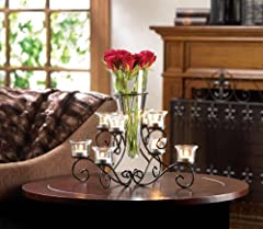 LARGE VASE Black Iron Candle holder Candelabra Wedding Table Centerpieces
