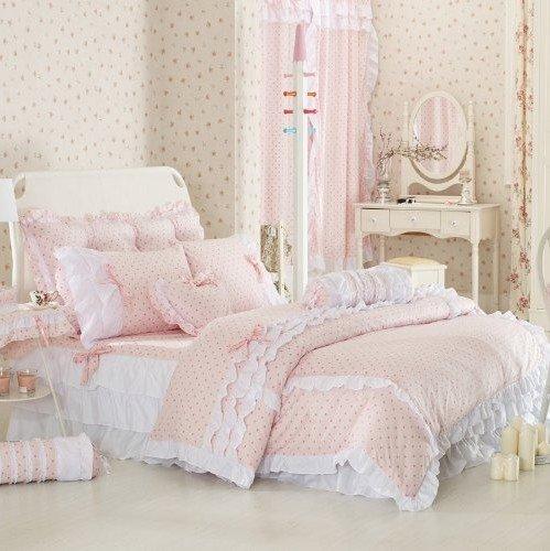 Girly-Girl Pink and White Polka Dot Bedding Set