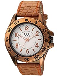 Watch Me Analog White White Brown Leather Brown Watch For Boys WML-248