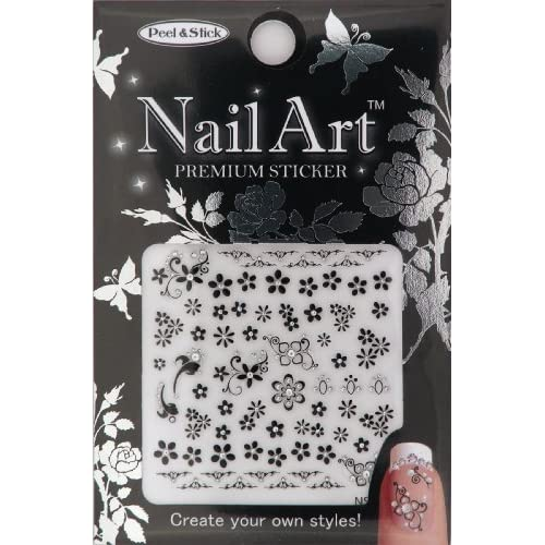 Nail Art Sticker Floral Design NSA 09 Black