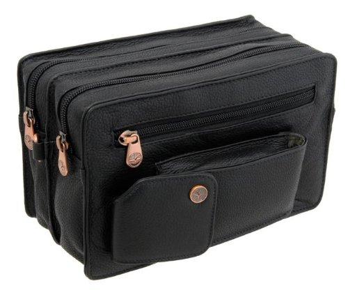 1642 Men's Leather Double Zip Travel Organiser Bag 6520 with Detachable Wrist Strap Black