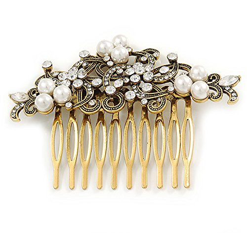Vintage Inspired Clear Austrian Crystal White Glass Pearl Side Hair Comb In Gold Tone - 90mm 3