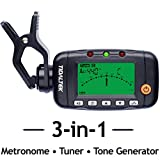 3-in-1 Digital Guitar Tuner - Professional Clip-On Tuner, Metronome & Tone Generator - Works w/Guitar, Bass, Violin, Mandolin, Ukulele, & More - Acoustic & Electric - LED Display.
