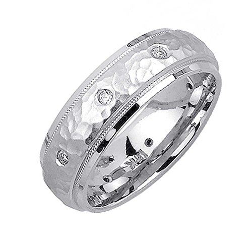 016ct-TDW-White-Diamonds-Platinum-Center-Stripe-Womens-Hammered-Finish-Comfort-Fit-Wedding-Band-G-H-SI1-SI2-7mm