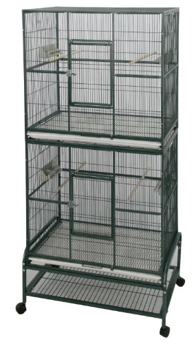 Metal Rockford Large Parrot Bird Flight Cage, Double Capacity - Also Great For Small Animals Such As Degus, Chinchillas, Rats  &  Ferrets