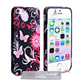 iPhone 5 Pink And Black Floral Butterfly Silicone Caseby Yousave Accessories