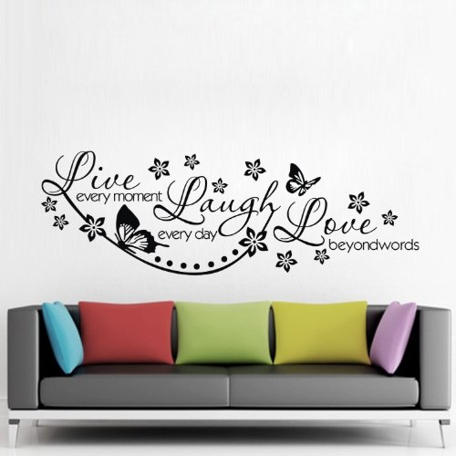 """Colorfulhall 23.6"""" X 38.2"""" Large Black Diy Wall Sticker Live Every Moment,Laugh Every Day,Love Beyond Words Wall Decal Quote Saying Words Removable Pvc Vinyl Mural front-600394"""