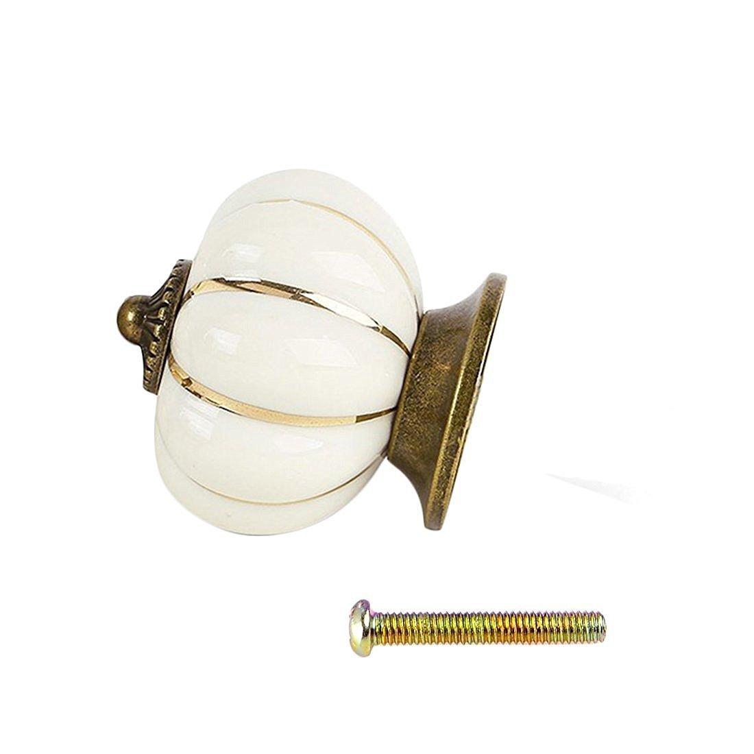 Pumpkin Ceramic Drawer Knobs, YIFAN Set of 10 Cabinet Pulls Dresser Cupboard Door Handles - White 2