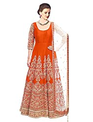 Liza Fab Women's Orange Bangalore Straight Unstitched Lehenga Cholis