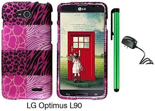 Premium Vivid Design Snap-On Protector Hard Cover Case For Lg Optimus L90 (D415) (Us Carrier: T-Mobile) + Travel (Wall) Charger + 1 Of New Assorted Color Metal Stylus Touch Screen Pen (Pink Exotic Skins : Leopard & Zebra & Block Sign)