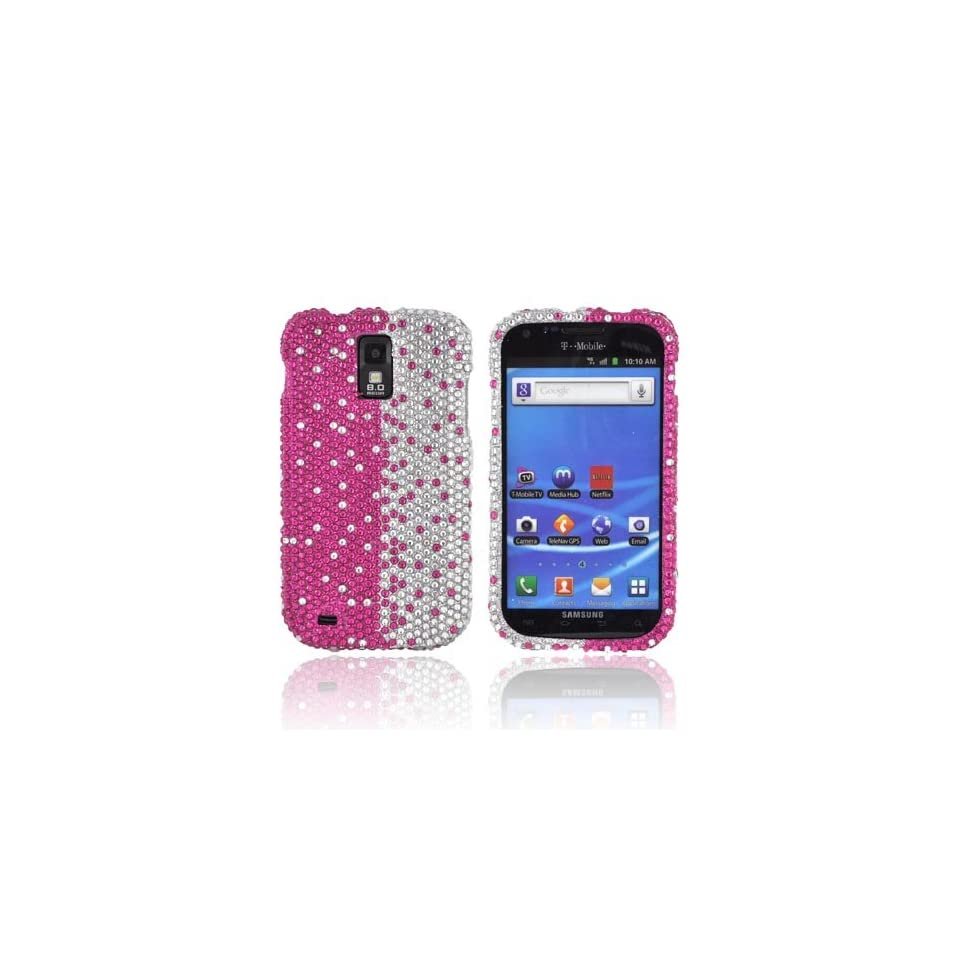 Hot Pink/ Silver Gems Bling Samsung Galaxy S2 Hard Case Cover; Fashion Jeweled Snap On Plastic Case; Perfect Fit as Best Coolest Design Cases for Galaxy S2/Samsung S2 Compatible with Verizon, AT&T, Sprint,T Mobile and Unlocked Phones