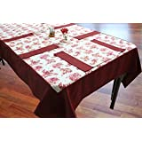 Dekor World Maroon Floral Printed Table Cover With Place Mat (Pack Of 5 Pcs)