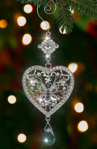 Heart and Butterfly Hanging Ornament - Clear Crystals and Filigree Ornament - Sparkly Silver Christmas Ornament - Silver Christmas Decorations (Crystal Butterfly Ornament compare prices)