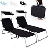 TecTake Chaise Longue Pliante Bain de Soleil avec Parasol Pare Soleil - diverses couleurs au choix - (2x Noir)