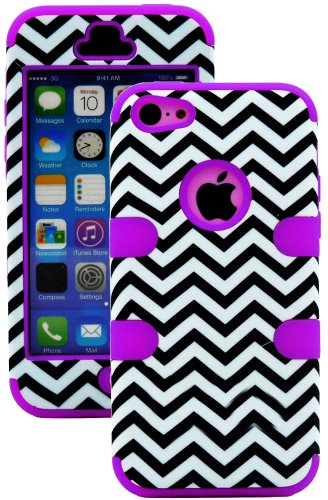 Mylife (Tm) Violet Purple + Black Chevron 3 Layer (Hybrid Flex Gel) Grip Case For New Apple Iphone 5C Touch Phone (External 2 Piece Full Body Defender Armor Rubberized Shell + Internal Gel Fit Silicone Flex Protector + Lifetime Waranty + Sealed Inside Myl
