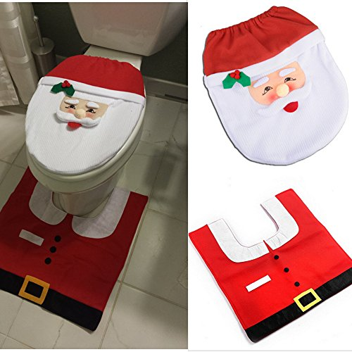 LIHAO Red and White Santa Claus Pattern Toilet Seat Cover and Rug Set Christmas Decoration Set