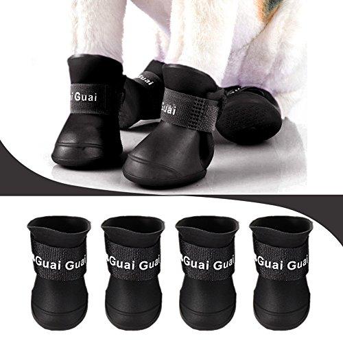 Pet Dog Boots, the Croods impermeabile cane scarpe pioggia neve stivali antiscivolo scarpe per cani, colore: nero, nero, L