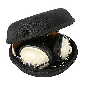 Khanka Hard Case Travel Storage Bag for Sennheiser HD 202 II Professional Studio Monitor / Sennheiser HD 201 / HD 280 Over Ear Headphones Headset and More - Black