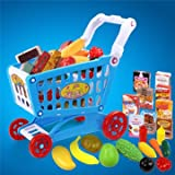 Atoz Prime 22Pcs Childrens Shopping Trolley Cart Role Play Set Learning Education Toy With Plastic Fruit Food - B0714Q8DNJ