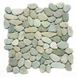 Glass Tile Oasis - 13985, Turquoise Pebbles & Stones Green River Rock Tiles Tumbled Natural Stone, Tiles, Pebble , River Rock Series, River Rock Tiles