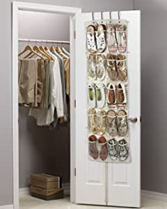 Heavy Duty 20 Pocket Over Door Hanging Shoe Organiser for 10 Pairs - Robust Oxford Canvas Type Beige Material (600D) with Reinforced Clear PVC Pockets - 135 x 53 x 7cm - Shoe Storage Tidy Organizer