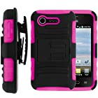 MINITURTLE, 2 in 1 Hybrid Dual Layer Armor Phone Case Cover with Kickstand, Holster Belt Clip, and Screen Protector for Prepaid Android KitKat Smartphone LG Optimus Zone 2 VS415 and LG Optimus Fuel L34C /Verizon, /TracFone Straight Talk (Black / Pink)
