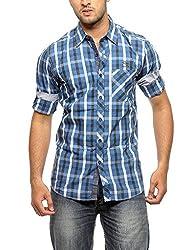 Groove Men Cotton Blue Casual Shirt (Medium)