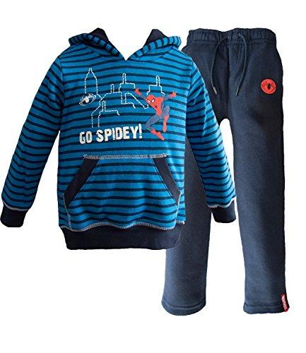 Spiderman con cappuccio Tuta da ginnastica / Jogging Completo Blu Taglia 2 Anni
