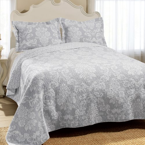 Laura Ashley Venetia Cotton Reversible Quilt, King, Gray front-182419