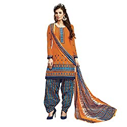 Resham Fabrics Orange Cotton Dress Material With Dupatta