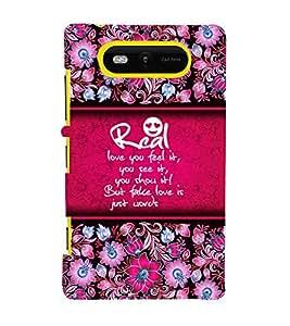 Real Love Is Feel 3D Hard Polycarbonate Designer Back Case Cover for Nokia Lumia 820 :: Microsoft Lumia 820