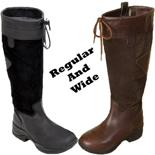 Adults Waterproof Leather Long Yard Stable Riding Country Boots Regular/Wide Size UK 3-9
