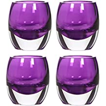 Hosley's Set Of 4 Purple Chunky Glass 3 High, Tea Light Holders - Jumbo Pack. Ideal For Weddings, Parties By Hosley...