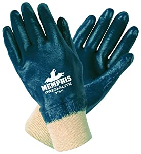 MCR Safety 9781XL Predalite Nitrile Rubber Fully Coated Gloves with Knitted Wrist, Smooth, Blue/White, X-Large
