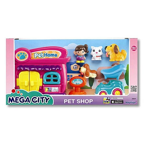 Keenway Mega City PET Shop with Girl, 2 Dogs, Cat, Car, Scale, TUB 18+ Months 1110 city series police swat car model building block bricks diy toys children compatible legoes gift kid set city policeman