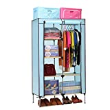 Aojia Canvas Wardrobe Clothes Hanging Rail Cupboard Clothes Storage Organiser Dimensions: 83cm Width, 43cm Depth, Height 160cm 8103blue