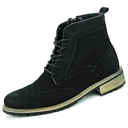 Yaer(ジャール)オックスフォードシューズ ウイングチップブーツ ショートブーツ スエード革靴 ハイカット BrogueShoesスタイル メンズ ブラック 27.0cm