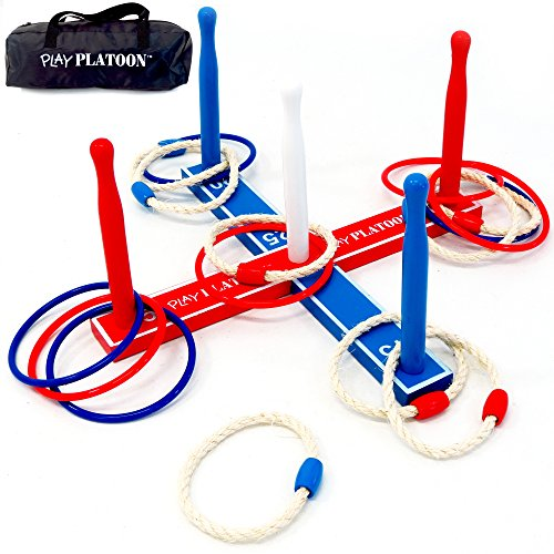 Play Platoon Ring Toss Game Set - Includes 8 Rope & 8 Plastic Rings - Great Party Game or Gift for Adults and Kids (Giant Slide Rule compare prices)