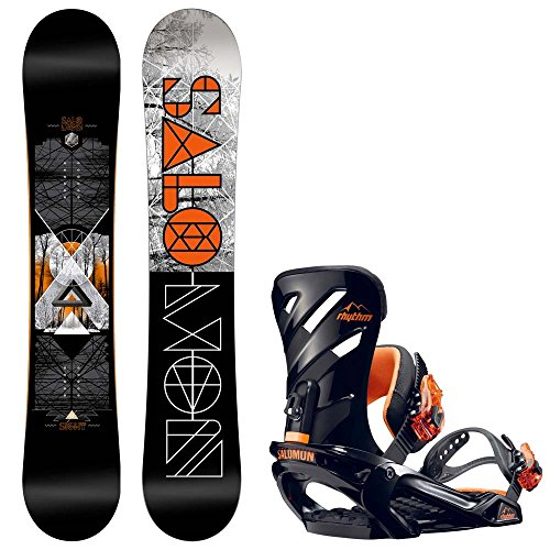 Herren Snowboard Set Salomon Sight 155W + Rhthm L Blk/Wht 2017 Snowboard Set