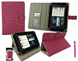 Emartbuy® Hot Pink Stylus + Universal Range ( 8 - 9 Inch ) Faux Suede Leopard Hot Pink Multi Angle Executive Folio Wallet Case Cover With Card Slots Suitable for Argos Bush MyTablet2 8 Inch