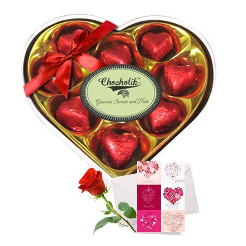 Sweet Carnations Of Wrapped Chocolates With Love Card And Rose - Chocholik Luxury Chocolates