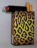 Cigarette Case Cheetah Leopard Print Design with Built on Lighter Holder