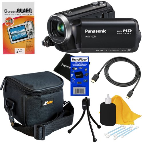 Panasonic HC-V100M 42x Intelligent Zoom SD Camcorder with 16GB Built in Memory (Black) + 6pc Bundle Accessory Kit