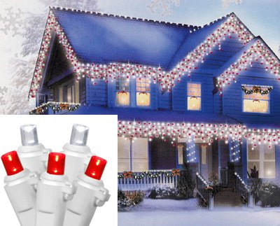 Set Of 70 Red And Pure White Led Wide Angle Icicle Christmas Lights - White Wire