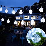 Outdoor Solar String Light ,20 ft 30LED Crystal Ball Waterproof Outdoor String Lights Solar Powered Globe Fairy String Lights for Garden, Home, Landscape, Holiday Christmas tree Decorations(white)