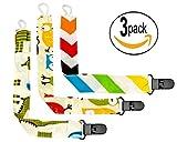Schnullerkette aus Baumwolle im 3er Pack und Plastik Clip -...