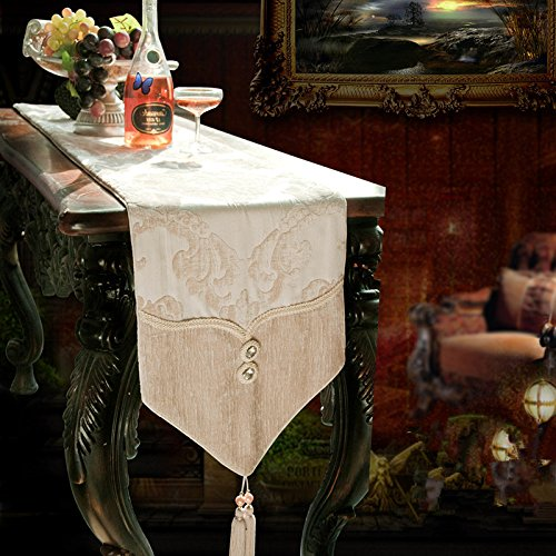 Ustide Stylishly Practical Table Runner Polyester Durable Table Cover For Christmas Imported Elaborate Crystal Design Table Decoration For Dining Room 11X94Inches
