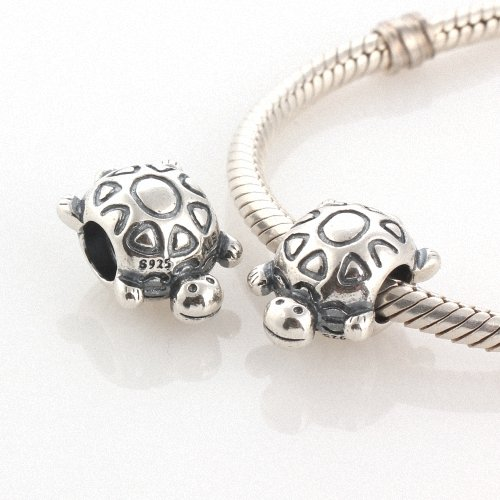 Taotaohas-(1Pc) Oxidized Antique Authentic 100% Solid Sterling 925 Silver Threaded Charm Beads, [ Name: Turtle ], Fit European Bracelets Necklaces Chains, Troll, Biagi Glass Charm Beads