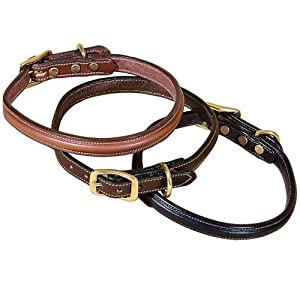 Tory Leather Narrow Raised Leather Dog Collar - Black, 16